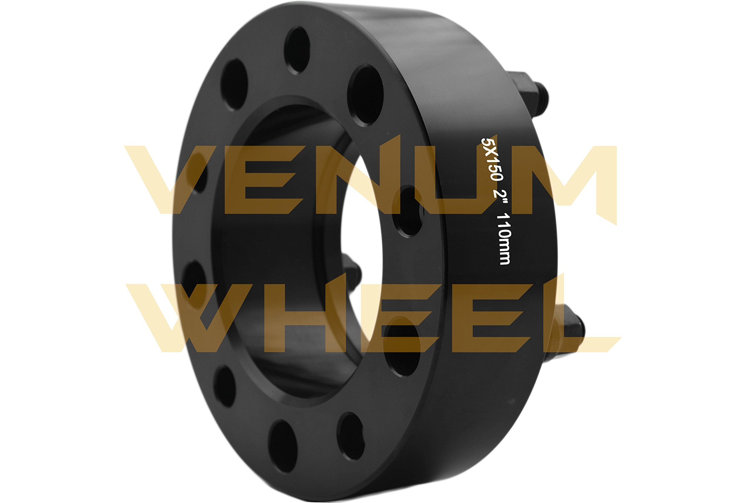 4 Pc 5x150 to 5x150 2'' Thick Black Hubcentric Wheel Spacers Adapter for Toyota Tundra 2007-2016 Hub Bore 110mm 14x1.5 Studs 6061 T6 Billet Aluminum (07-) Black by Venum wheel accessories (Image #5)