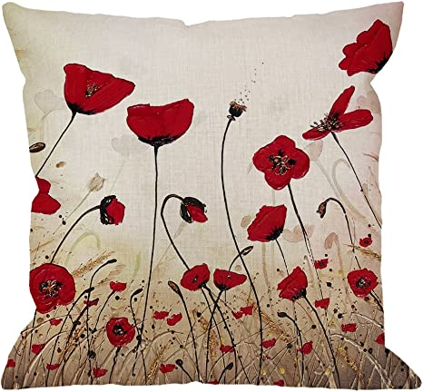 Amazon Com Hgod Designs Beautiful Flower Poppy Pillow Case Red Flower Cotton Linen Cushion Cover Square Standard Home Decorative For Men Women 18x18 Inch Red Brown Home Kitchen