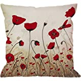 HGOD DESIGNS Beautiful Flower Poppy Pillow Case,Red Flower Cotton Linen Cushion Cover Square Standard Home Decorative for Men/Women/Kids 18x18 inch Red Brown