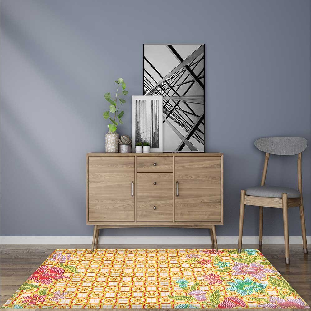 Amazon.com  Traditional Rugs Traditial Malaysian Batik Fowith Flower and  Leaves Javanese Heritage Carpet Bathroom Shower Pad W47 x L59 INCH  Kitchen    ... e567978ebd