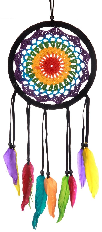 Atrapasueñ os arco iris (Dreamcatcher), ganchillo, azul, verde, purpura, rojo, amarillo, multicolor, diá metro: 16 cm diámetro: 16 cm Woru