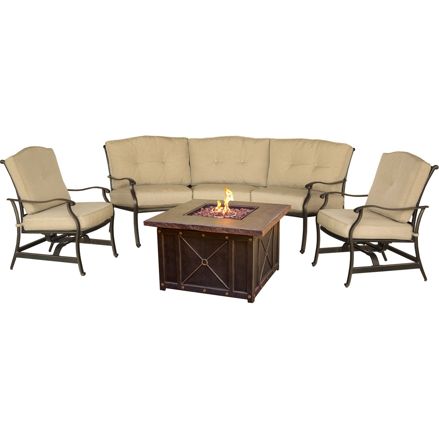 Amazon com hanover traddura4pcfp traditions 4 piece conversation set with 40 durastone fire pit outdoor furniture natural oat garden outdoor