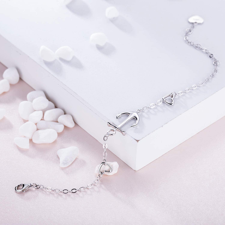 Billie Bijoux Bracelet dancrage en argent sterling 925 Bracelet r/églable en cristal plaqu/é or blanc