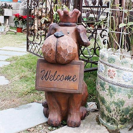 Jardín Animal Esculturas Decoración Vintage Lindo Perro De Bienvenida Estatuas Para Aire Libre Prado,Patio Adornos Hogar Terraza O Patio,B: Amazon.es: Hogar