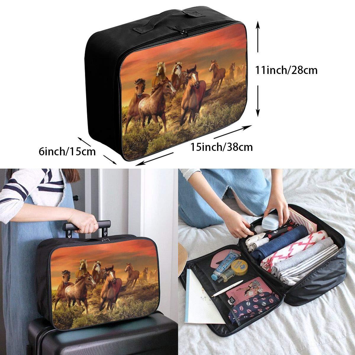 Travel Luggage Duffle Bag Lightweight Portable Handbag Running Horse Painting Large Capacity Waterproof Foldable Storage Tote