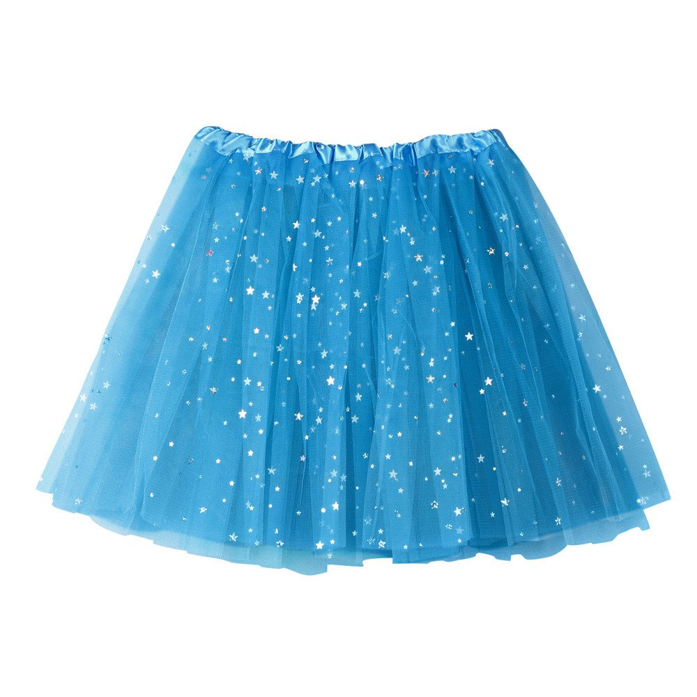 NUWFOR Women's Layered Stars Sequins Tutu Skirt Princess Ballet Dance Dress?Sky Bule?One Size?