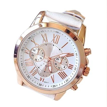 Lookatool® Ladies Women Girl Roman Numerals Faux Leather Analog Quartz Wrist Watch (White)
