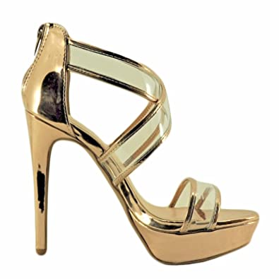 26e77ab0cad Qupid Avalon 159 Women s Clear Strappy Platform Heels (9