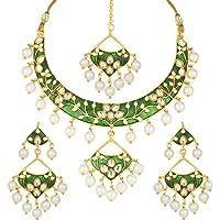 Aheli Elegant Wedding Wear Faux Kundan Studded Enamel Necklace with Maang Tikka Set Bollywood Fashion Jewellery for…