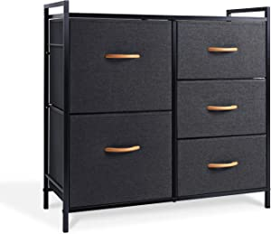 ROMOON Dresser Organizer with 5 Drawers, Fabric Dresser Tower for Bedroom, Hallway, Entryway, Closets - Dark Indigo