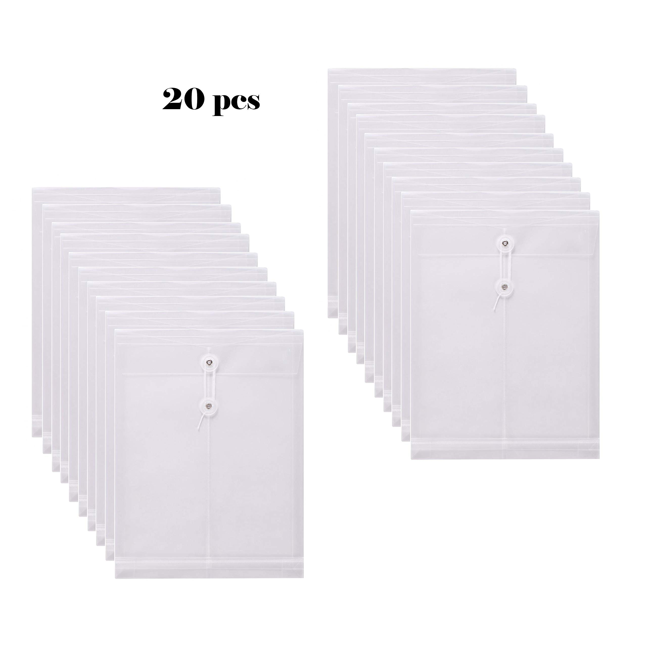 SMARTOFFICE Clear String Closures Poly Envelopes w/Top Opening Folder Pocket Pack of 20 Bottom with Expanding Gussett (Clear)