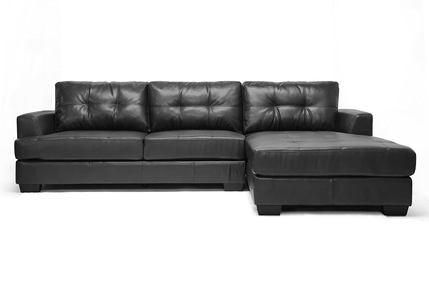 Black Leather Couch Part - 34: Amazon.com: Baxton Studio Dobson Leather Modern Sectional Sofa, Black:  Kitchen U0026 Dining