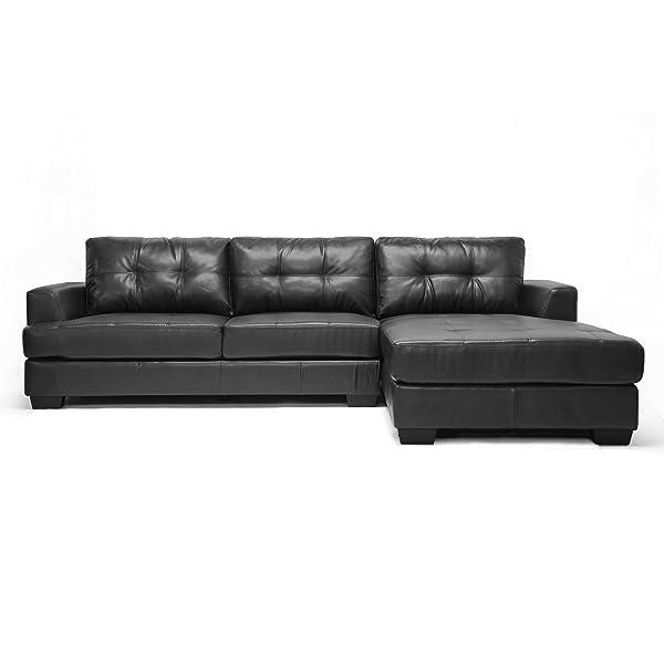 Baxton Studio IDS070LT-SEC-RFC Black Dobson Leather Modern Sectional Sofa, Black