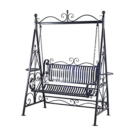 Superb Amazon.com : Outsunny 2 Person Outdoor Metal Garden Swing   Black : Garden  U0026 Outdoor