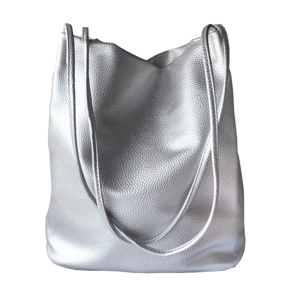 Bucket Bag Womens Purse Leather Totes Hobos Shoulder Bags,Silver
