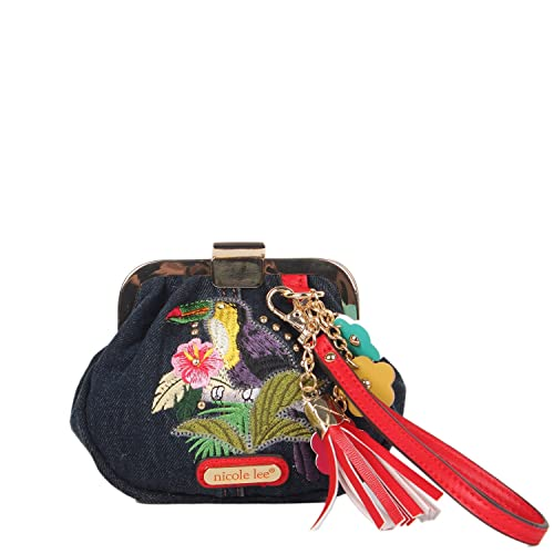 Amazon.com: Denim Embroidery [Green] Wristlet Coin Purse ...