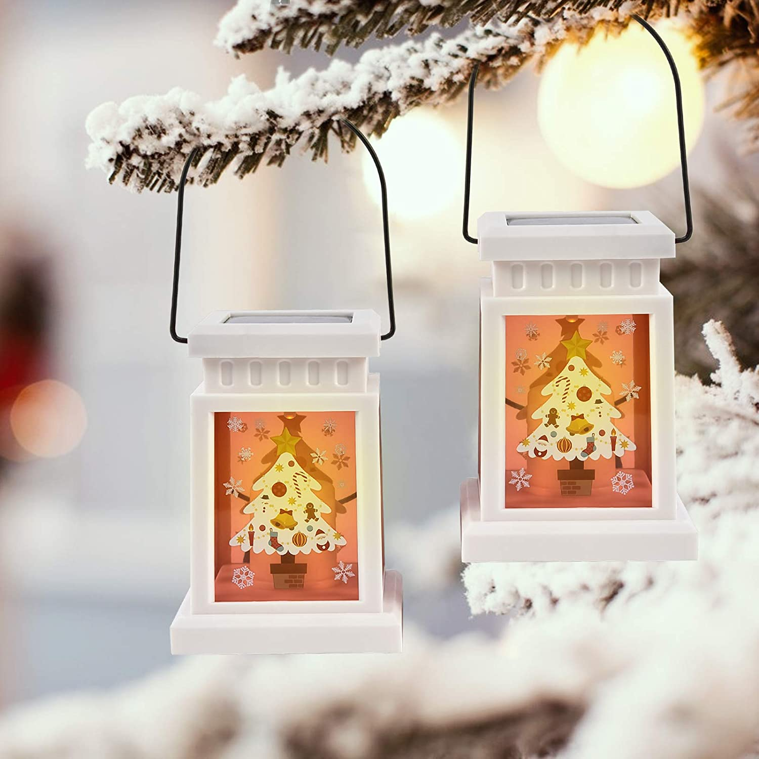Christmas Solar Candle Lanterns - 2 Pack Solar Lights Outdoor Hanging, Table Decorative Lamps with Tree Patterns for Christmas Home, Porch, Party, Patio Lawn or Garden Decor.