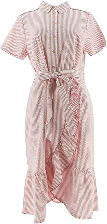 Isaac Mizrahi Seersucker Shirt Dress Ruffle A305234 At Amazon