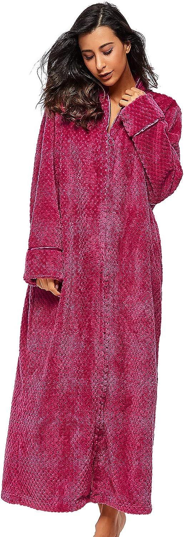 Belloo Damen Winter Bademantel Weich Flauschig Coral-Fleece Morgenmantel Lang Frottee Saunamantel mit Rei/ßverschluss