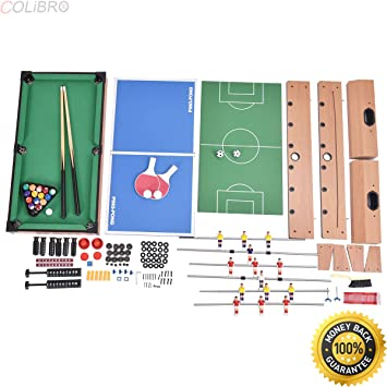 COLIBROX  4 In 1 Multi Game Air Hockey Tennis Football Pool Table Billiard  Foosball