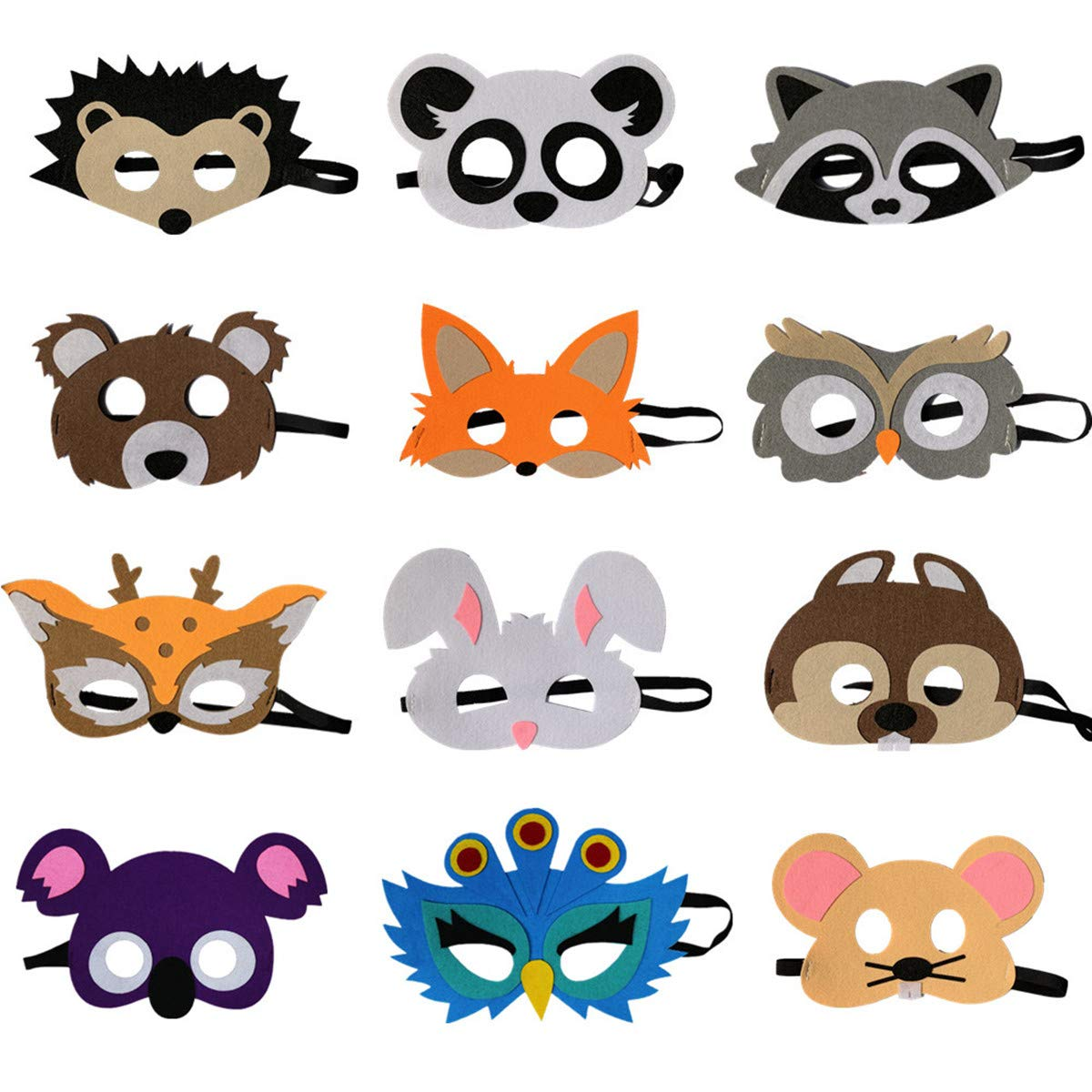 STARKMA 12pc Forest-Friends Animals Felt Masks Woodland Creatures Animal Cosplay Camp Themed Party Favors Supplies for Kids