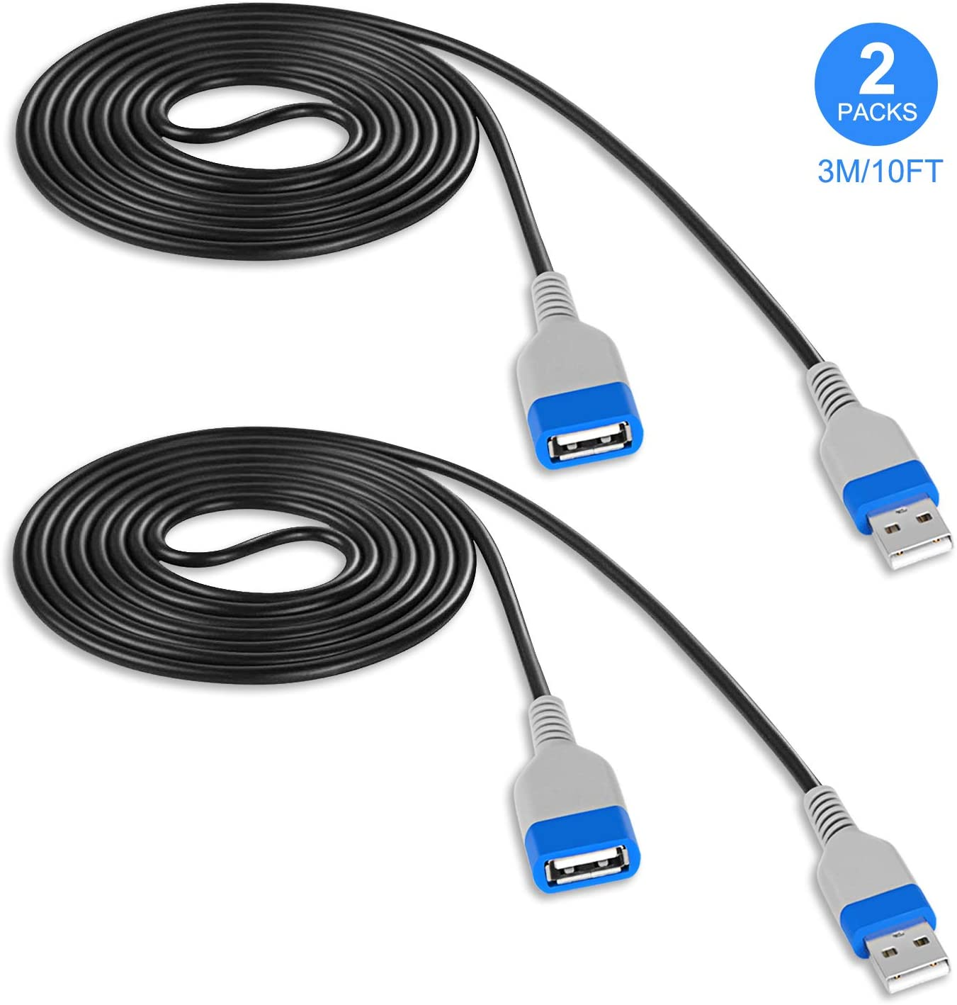 Keten Extension Cable for Playstation Classic Console Controller, Extra Signal Cord for Sony PS Classic Mini Edition – 2018 (3M/10 ft -2 Pcs)