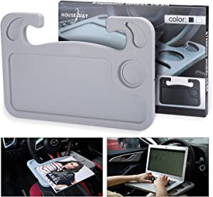 Portable Car Steering Wheel Desk Table Steering Wheel Tray Eating Laptop Stand Table Holder Fits Most Vehicles Steering Wheels for Travels (Grey)