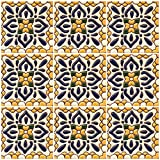 DRT WHOLESALES Mexican Talavera Relief Ceramic 9 Pieces 4x4 Yellow Cancun