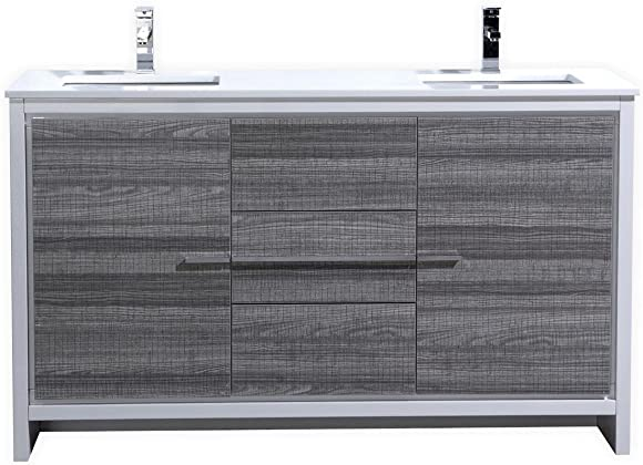 KubeBath Dolce 60 Double Sink Ash Gray Modern Bathroom Vanity