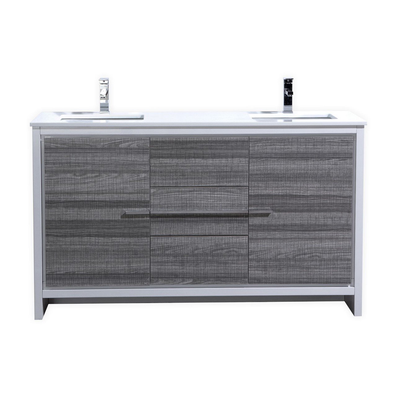 KubeBath Dolce 60″ Double Sink Ash Gray Modern Bathroom Vanity with ...