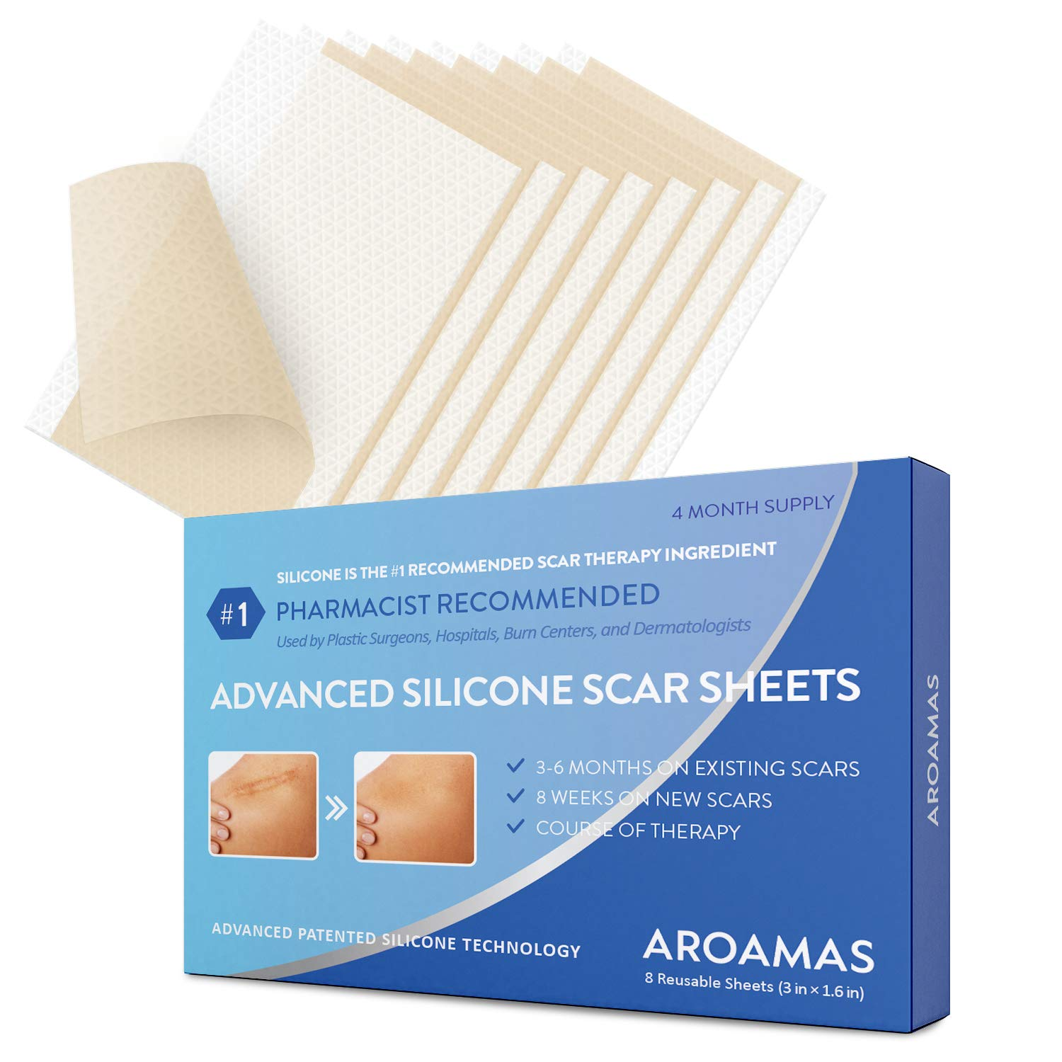 Aroamas Professional Silicone Scar Sheets, Soften and Flattens Scars Resulting from Surgery, Injury, Burns, Acne, C-section and more, Soft Silicone Scar Strips, 3''×1.57'', 8 Sheets (4 Month Supply)
