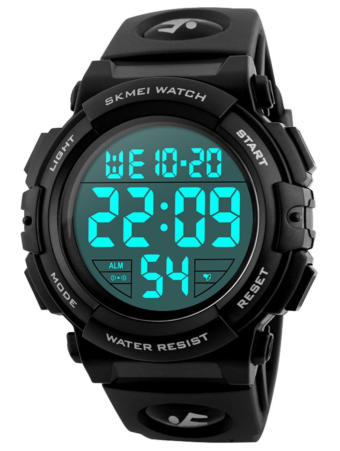 Men's Digital Sports Watch LED Military 50M Waterproof Watches Outdoor Electronic Army Alarm Stopwatch White