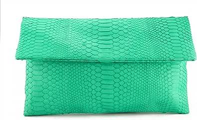 Genuine Python Leather Classic Foldover Clutch Bag
