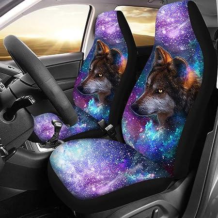 Juego de 2 para m/ás autom/óviles SUV Van Coloranimal Galaxy Wolf Fundas para Asientos de Coche para Proteger Accesorios completos de Auto