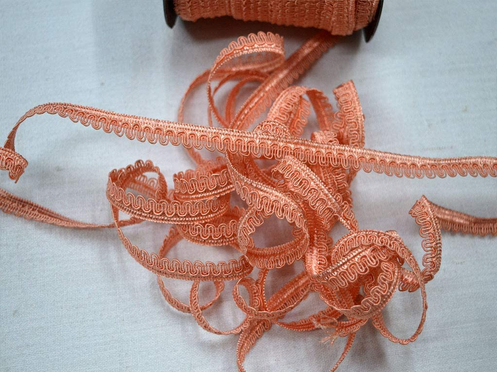 Peach Soft Furnishing Upholstery Christmas Supplies Home Decor Embellishments Crafting Ribbon Decorative 1 cm Wholesale Gimp Braid Scroll Cord Braided Trim by 9 Yard for Dresses
