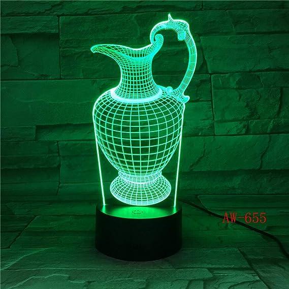 Zhuhuimin Botella de florero 3D Lámpara de luz Nocturna ...