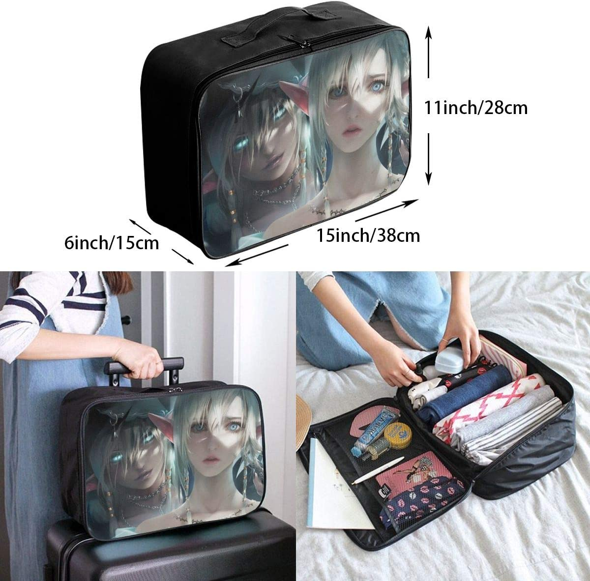 White Hair Elven Travel Carry-on Luggage Weekender Bag Overnight Tote Flight Duffel In Trolley Handle
