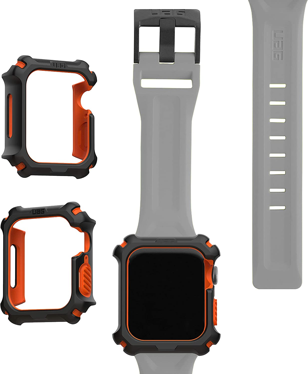 UAG Apple Watch Band 44mm 42mm, iWatch Series 6/5/4/Watch SE Replacement Strap, Scout Silver + Apple Watch Case 44mm, iWatch Series 6/5/4/Watch SE Protective Bumper Case, Black/Orange