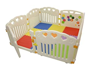 BBNet Baby Playpen with Play MAT Included | Play Yard 8 Pieces | Children Activity Center | Pack and N Play Mattress | Fitted EVA Floor Mats Panel with Gate Door for Babies Extra Wide | Nest Child