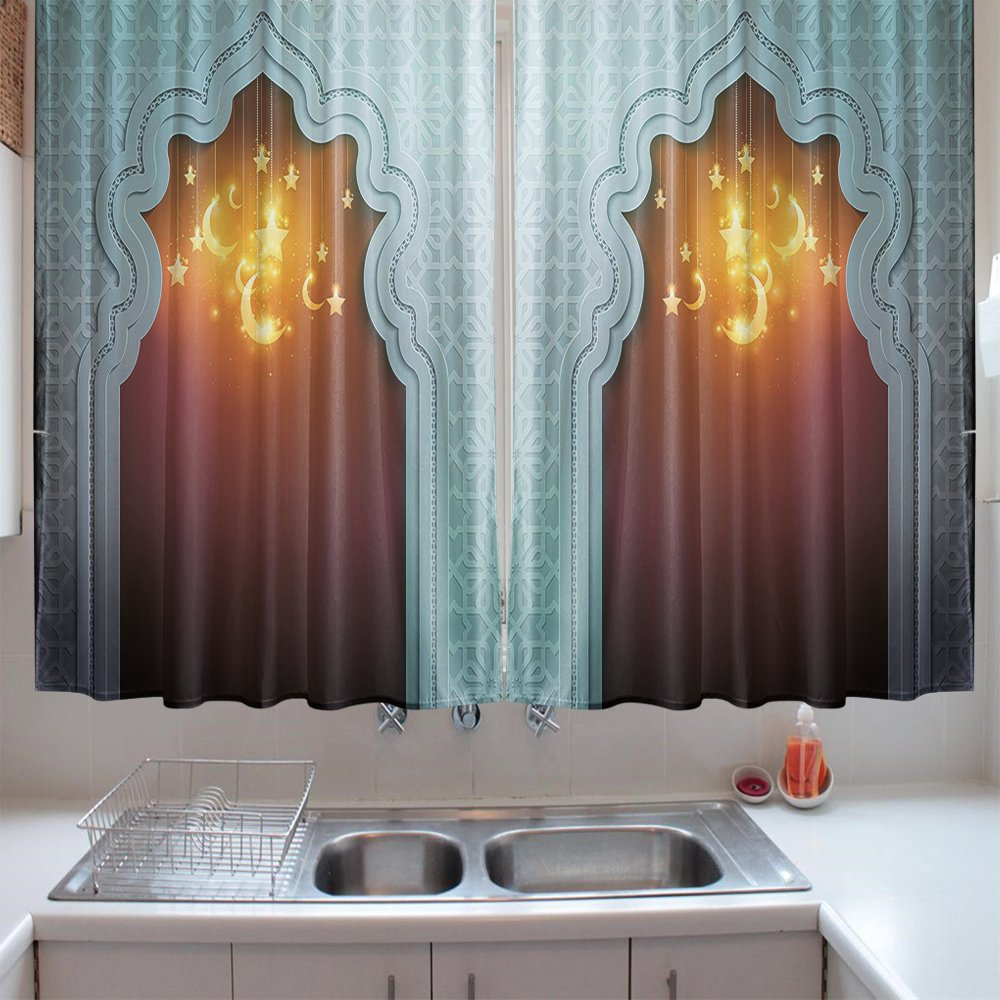 Amazon.com: oFloral Kitchen Curtains Moroccan Mosque Door Pale Blue ...