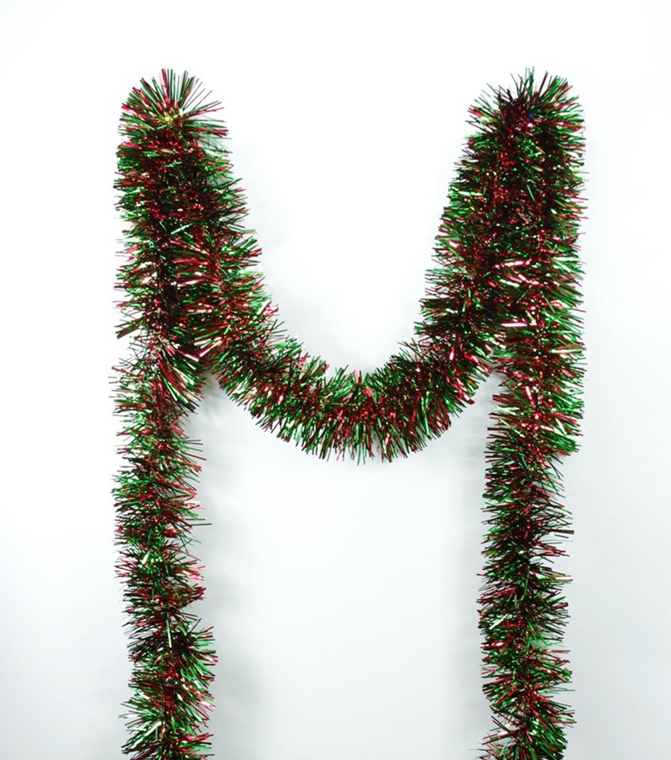 Northlight Festive Shiny Christmas Tinsel Garland Unlit-6 Ply, 50', Red/Green