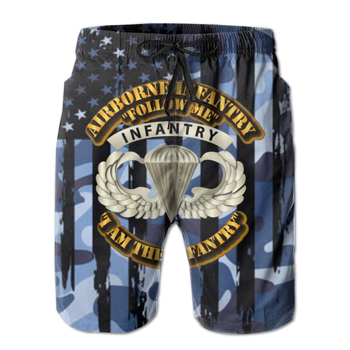 Airborne Badge Infantry Follow Me I Am The Infantry Mens Swim Trunks Bathing Suit Beach Shorts