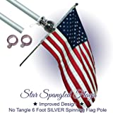 Flag Pole - 6 Foot Silver Brushed Aluminum No Tangle Spinning Flagpole with Silver Globe Built Tough and Beautiful to…