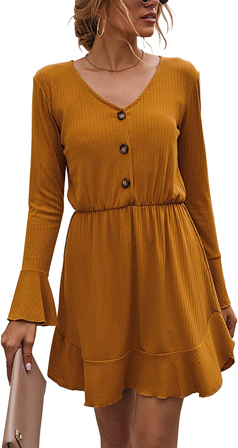 FANVOOK Women's 2020 Long Sleeve Button Down Dress Fit and Flare A Line Casual Dresses