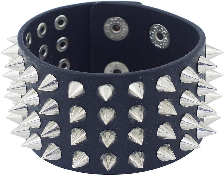 FRS2FJH Unique Four Row Cuspidal Spikes Rivet Stud Wide Cuff Leather Punk Gothic Rock Unisex Bangle Bracelet Men Jewelry S263