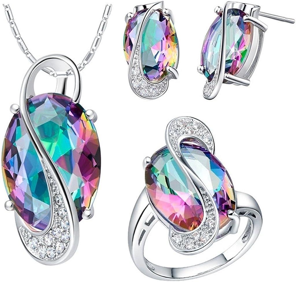 KnSam Collar Plata Mujer, Conjunto de Collar Pendientes y Pulsera, S Estilo Oval Vistoso Cristal Juego de Joyas