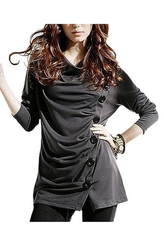 La Mujer Elegante De Un Solo Pecho Fruncido Asimétrico Manga Larga Camiseta Blusa