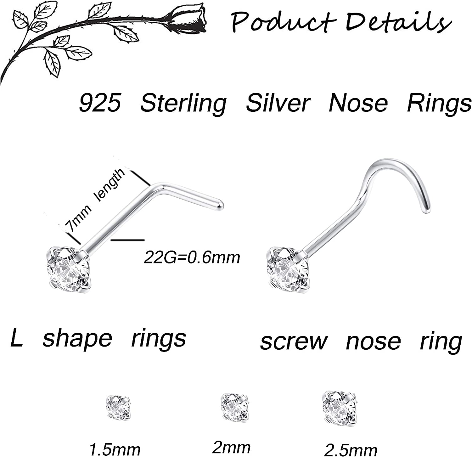 Sllaiss 925 Sterling Silver L Shaped Nose Rings Set For Women Men