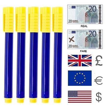 Hotbesteu 10pcs Bolígrafo Detector de Dinero Rotulador Detector de Billetes Falsos Detector de Moneda Falsificada Pluma para Euro Dólares y Libras: ...