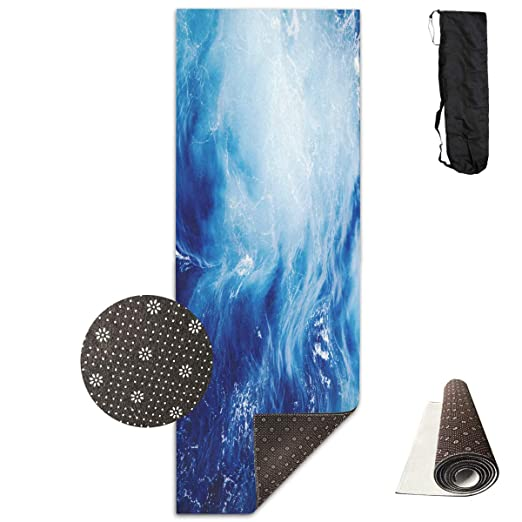 Fitness Exercise Mat, Workout Mat for Yoga, Blue Ocean Wave ...